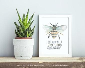 Honeybee Fine Art Print by True Cotton