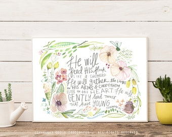 Isaiah 40:11 God Gently Leads Those with young Motherhood Instant Download Printable Art