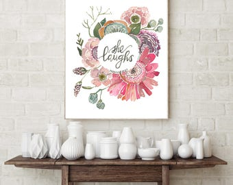 She Laughs Proverbs 31:25 Fine Art Print by True Cotton