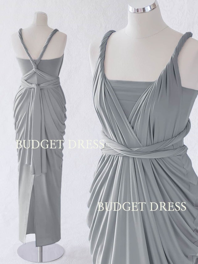 Light Ash Grey Convertible Dress Mix And Match Bridesmaid Etsy