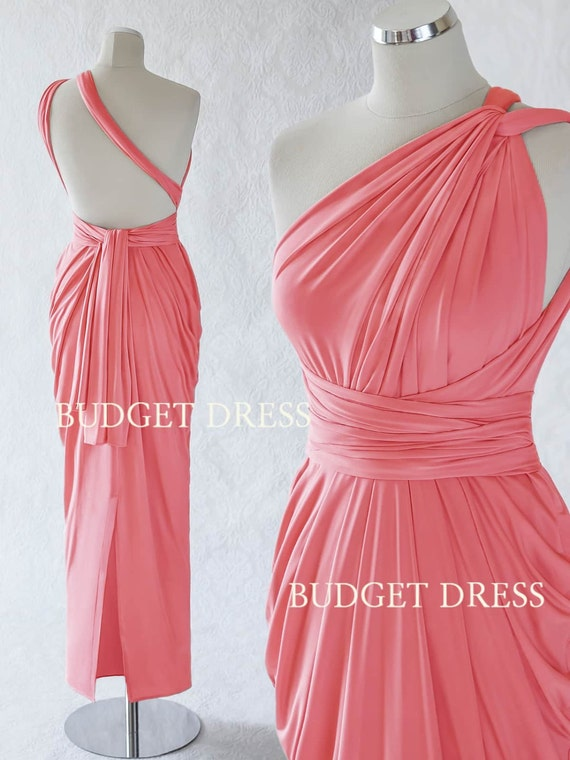 Salmon Pink Infinity Dresses,Mix And Match Bridesmaid Dresses, Twist Wrap  Greek Prom Dress, Long Evening Dress with Slit, Floor Length Gown
