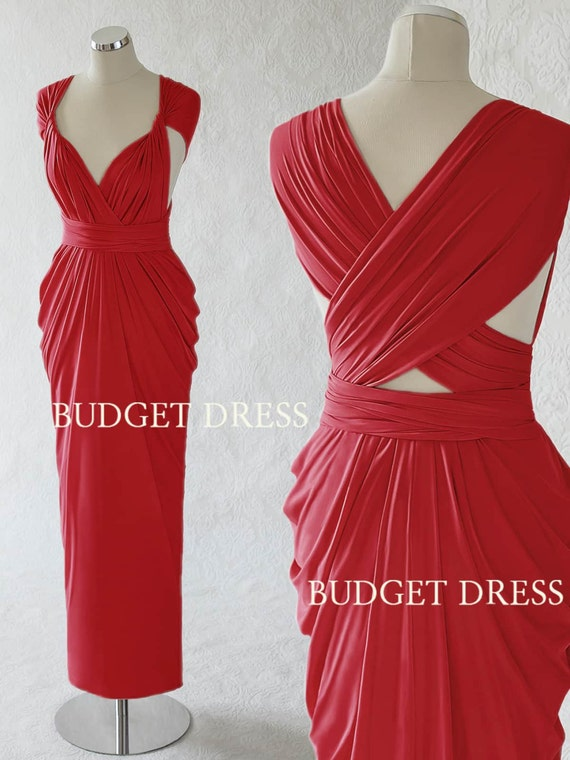Crimson Red Infinity Dress Transformer Summer Bridesmaid Dresses Maxi Prom Dresses Convertible Wedding Party Dresses Maid Of Honor Gown