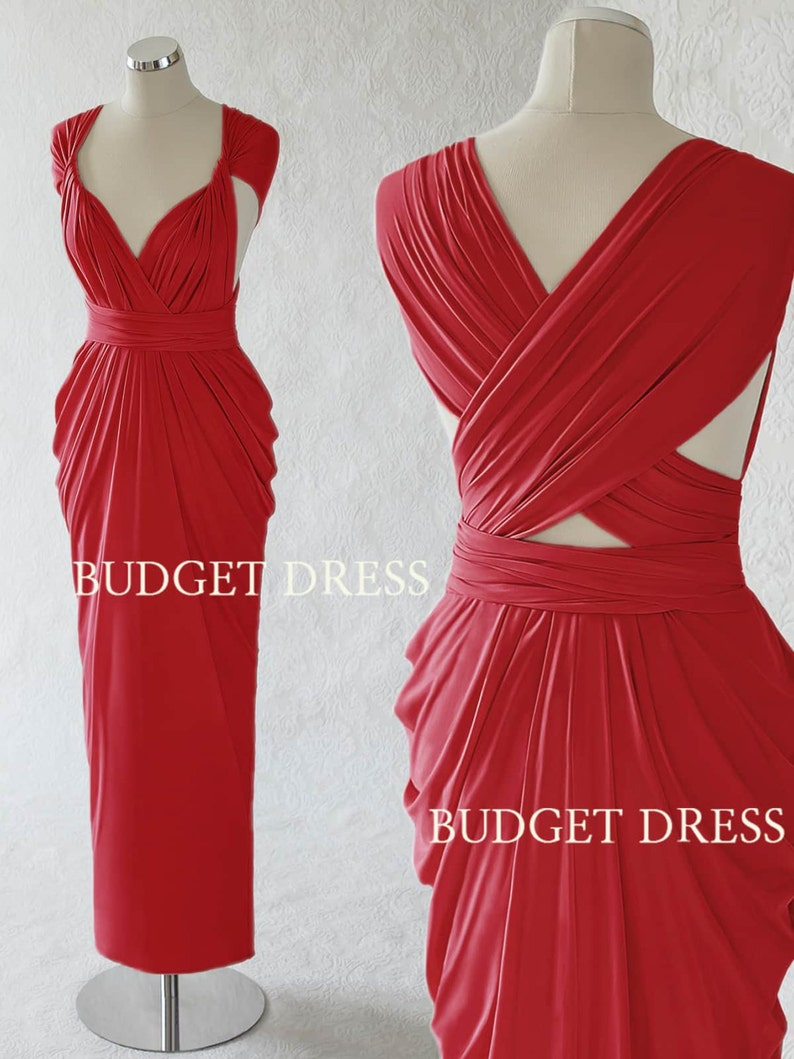 4ce40e55524 Crimson Red Infinity Dress Transformer Summer Bridesmaid