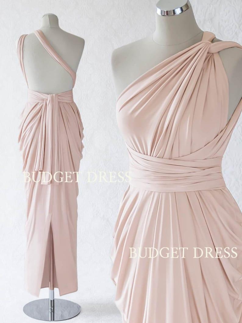 c620bab41ea89 Nude Blush Multiform Bridesmaids Dress Infinity Greek Prom | Etsy