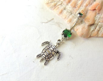 Sea Turtle Belly Button Ring You Choose Barbell, Dangle Belly Ring, Turtle Lover, Cute Belly Ring, Nautical Beach