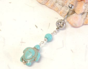 Sea Turtle Belly Button Ring, Dangle Belly Ring, Turquoise Turtle, Cute Belly Ring, Nautical Beach Jewelry, Turtle Body Jewelry