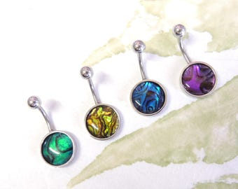 Abalone Shell Belly Button Ring You Choose Color, Non Dangle Belly Ring, Shell Belly Ring, Simple Belly Ring, Navel Piercings