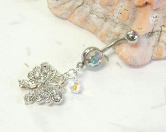 Butterfly Belly Ring Etsy