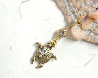Steampunk Turtle Belly Button Ring, Dangle Belly Ring, Turtle Lover, Steampunk Belly Ring, Turtle Belly Ring