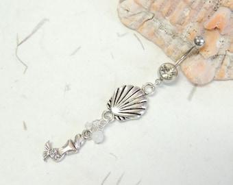 Mermaid Seashell Dangle Belly Ring, Belly Button Jewelry, Mermaid Jewelry, Mermaids Lover
