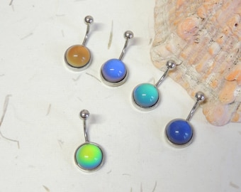 Color Changing Belly Ring, Mood Stone Color Changing Belly Ring, Non Dangle Belly Ring, Simple Belly Ring, Navel Piercings
