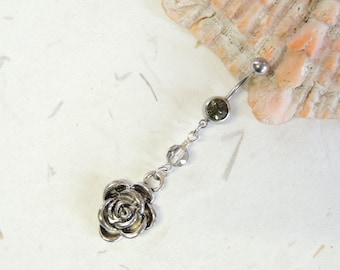 Rose Belly Button Ring, Crystal Dangle Belly Ring, Silver Belly Ring, Pretty Belly Ring, Belly Button Jewelry