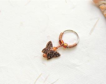 Copper Butterfly Cartilage Hoop Earring, 16g 18g or 20g Hoop, Surgical Steel Hoop, Helix Earring, Cartilage Hoops