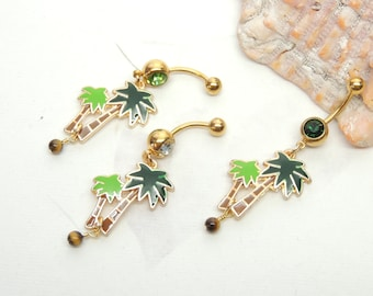 Palm Tree Belly Ring Etsy