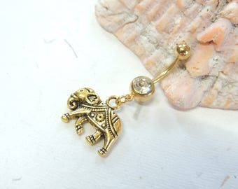 Gold Elephant Belly Button Ring You Choose Barbell Color, Lucky Elephant, Dangle Belly Ring, Gold Belly Ring, Elephant Jewelry