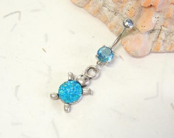 Druzy Turtle Belly Button Ring, Druzy Belly Rings, Body Jewelry, Dangle Belly Ring, Turtle Jewelry