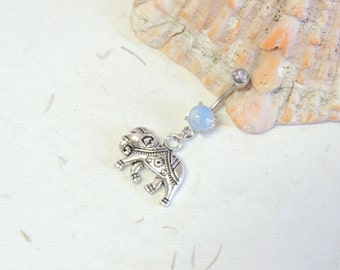 Elephant Belly Ring You Choose Barbell Color, Lucky Silver Elephant, Dangle Belly Ring, Silver Belly Ring, Elephant Jewelry