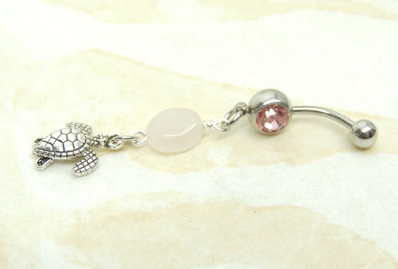 Turtle Belly Button Ring with Rose Quartz Dangle Belly Ring Turtle Lover Belly Button Jewelry Cute Belly Ring
