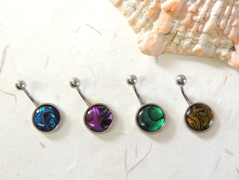 Non Dangle Belly Ring Navel Piercings Simple Belly Ring Shell Belly Ring Abalone Shell Belly Button Ring You Choose Color