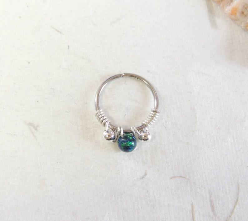Opal Cartilage Hoop Septum Rings Opal Body Jewelry Opal Nose Ring Helix Daith Orbital Piercing Opal Beaded Septum Ring Seamless Hoops
