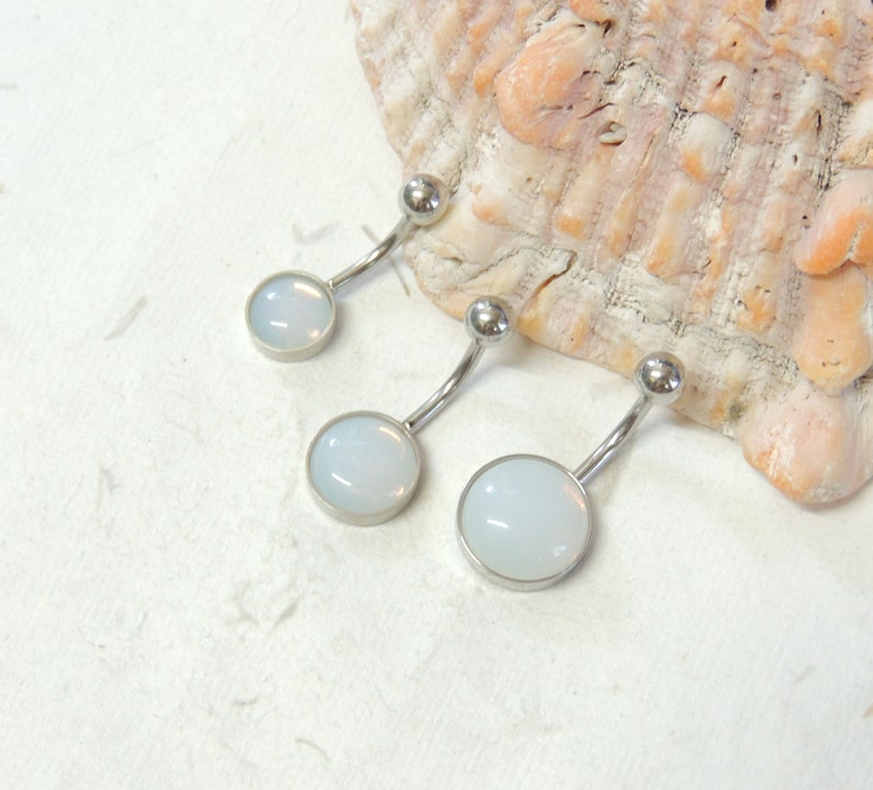 Opalite Belly Button Ring You Choose 8mm 10mm Or 12mm Sea Glass Belly Ring Navel Rings Non Dangle Simple Belly Ring Body Jewelry