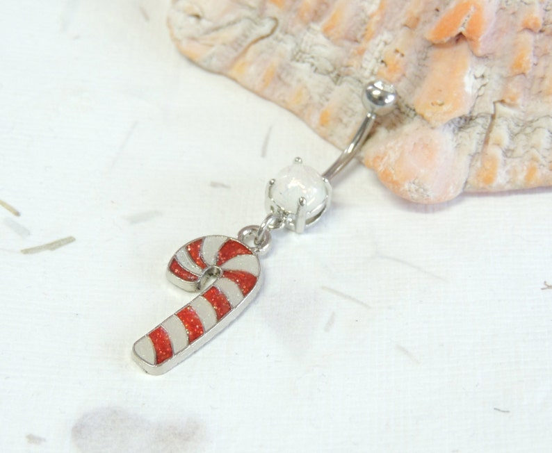 Candy Cane Sparkle Belly Ring You Choose Barbell Color Holiday Christmas Belly Ring Belly Button Jewelry Candy Cane Jewelry
