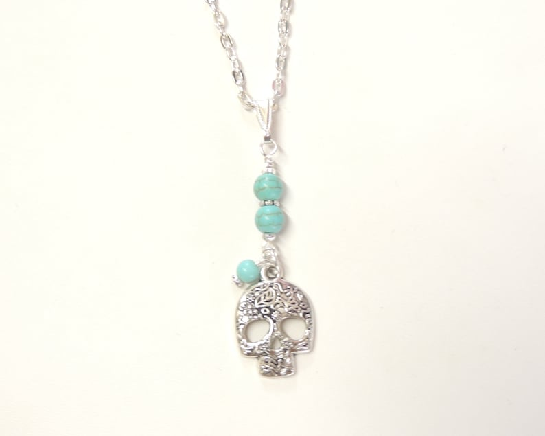 Turquoise Necklace Silver Skull Day of the Dead Skull Tribal Necklace Charm Pendant Necklace Sugar Skull Necklace with Turquoise Beads