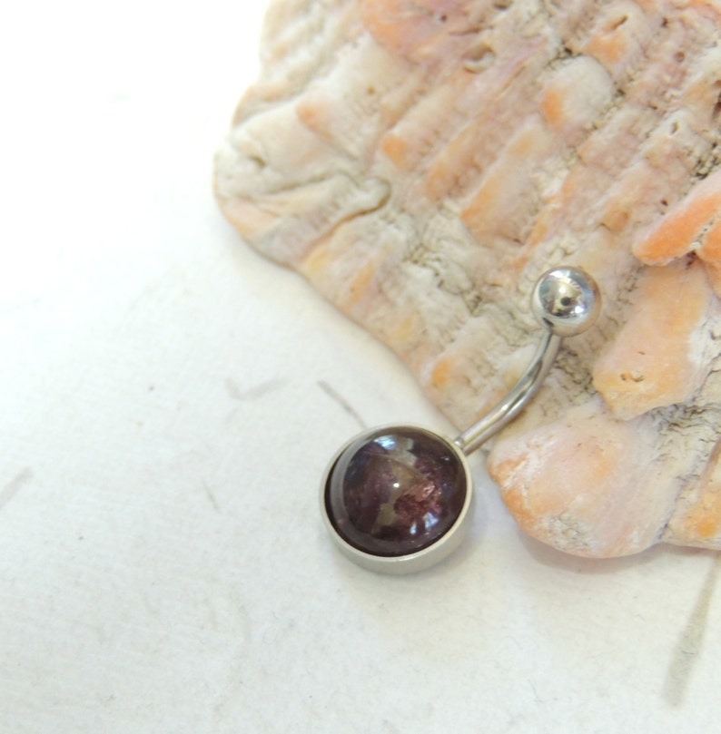 Gemstone Belly Ring Natural Pink Tourmaline Belly Ring 10mm Stone Non Dangle Simple Belly Ring Navel Rings Body Jewelry