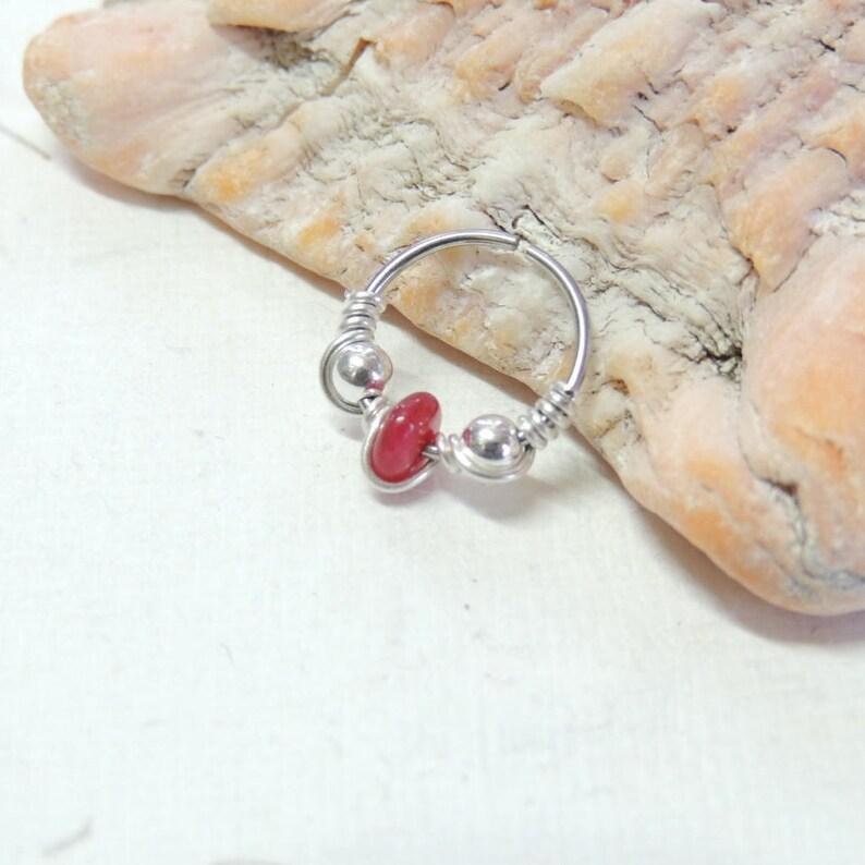 Cartilage Hoop Earring Wire Wrapped Ruby Beaded Nose Hoop Tragus Helix Orbital Cartilage Hoop Earring 20g Endless Hoops
