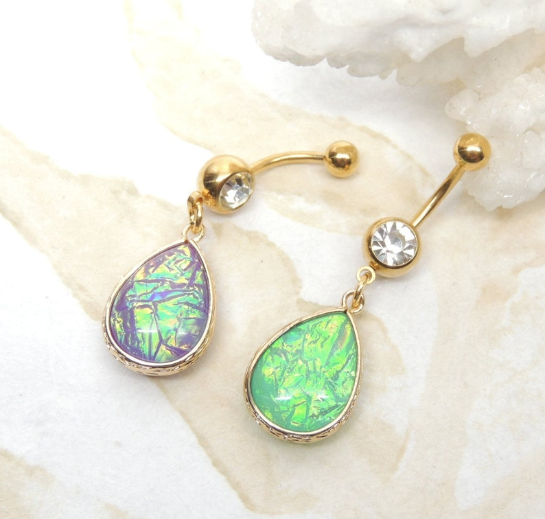 Iridescent Opal Sparkle Belly Ring You Choose Color Simulated Opal Belly Button Navel Ring Body Piercing Jewelry