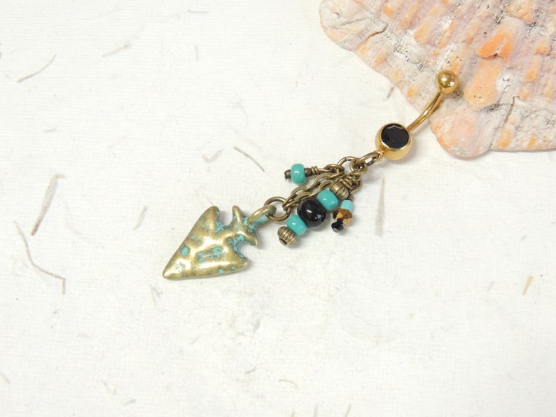 Arrowhead Arrowhead Belly Ring with Turquoise Beads Tribal Belly Ring Dangle Belly Ring Turquoise Belly Ring