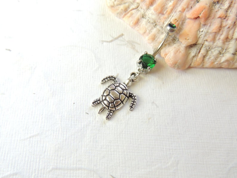Sea Turtle Belly Button Ring You Choose Barbell Dangle Belly Ring Turtle Lover Cute Belly Ring Nautical Beach