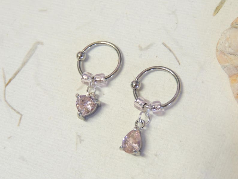 Cartilage Hoop Earring Conch Helix Tragus Earring CBR Captive Bead Ring Pink Crystal Heart or Teardrop Charm Captive Bead Ring