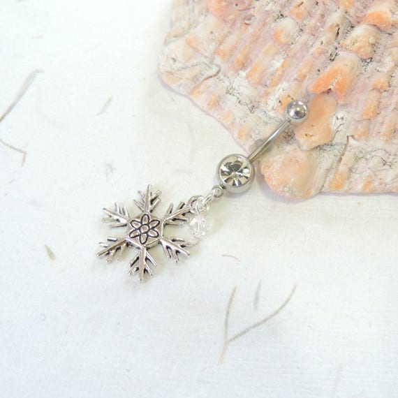 Belly Button Jewelry Snowflake Belly Button Ring Holiday Christmas Belly Ring Dangle Belly Ring, Winter Snowflake Jewelry
