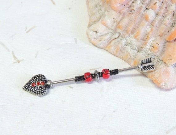 Goth Jewelry Body Jewelry Industrial Piercings Industrial Bar Red and Black Wire Wrapped Industrial Barbell Scaffold Ear Earring