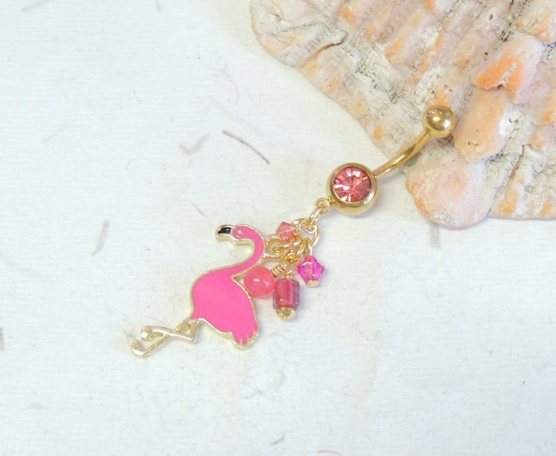 Pink Flamingo Belly Ring You Choose Barbell Color Belly Button Jewelry Dangle Belly Ring Summer Belly Ring Tropical Bird