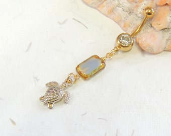 Golden Sea Turtle Dangle Belly Ring, Turtle Belly Ring, Cute Belly Ring, Nautical Beach Belly Rings, Gold Belly Ring