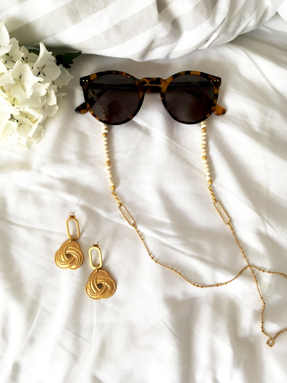 Chaine de lunettes Marialuisa en laiton doré à