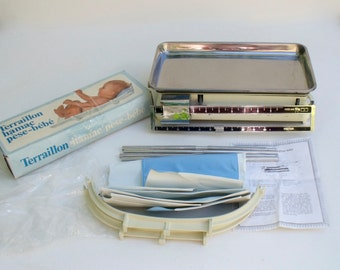 French Weighing Scales Balance Testut Terraillon 10kg Ivory complete with Baby Weighing hammock boxed