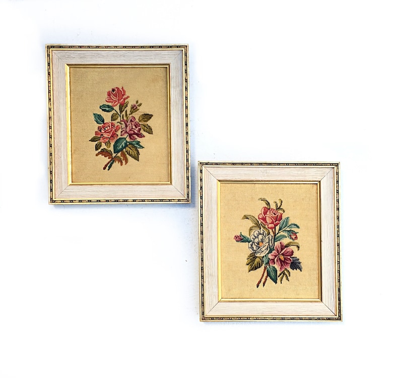 ready to hang PAIR Vintage French Petit Point needlepoint  Floral bouquets in wools Gold framed mounts Hand stitched