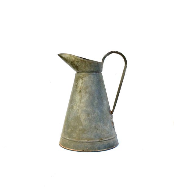Antique French Zinc Large Pitcher Jug Vase Galvanised French Etsy