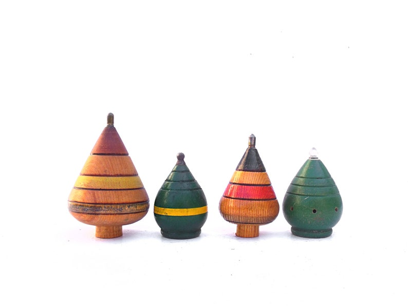 Collection Four 4 Vintage French Wooden spinning tops painted  French Toys perfect for display