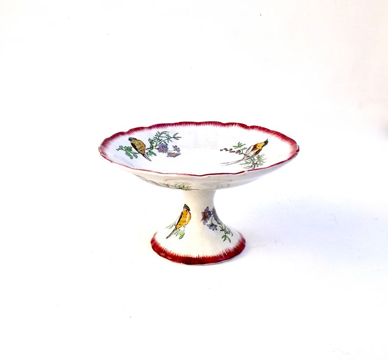 Stunning Rare Choisy le roi HB Cie Faience Oiseaux Birds Hand painted Footed Cake Compote Fruit Plate Terre de fer