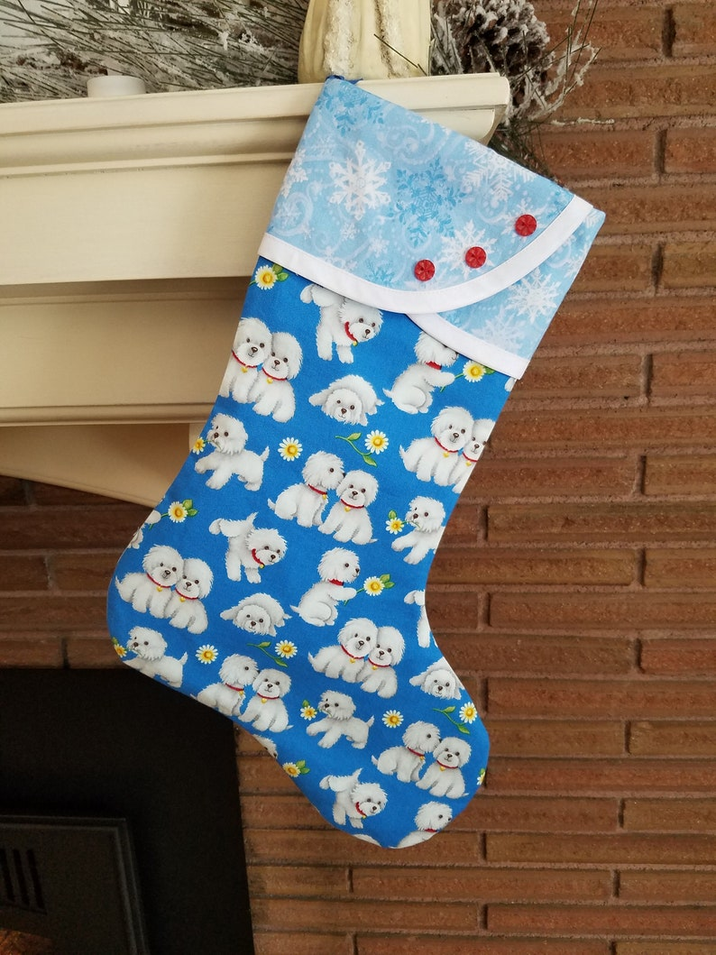 Christmas Stocking With Doggy Print Etsy