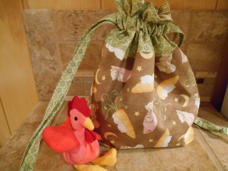 Lined Drawstring Bag with Little Bunnies /& Bears Print