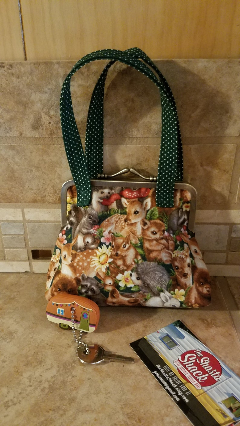 Fabric Coin Purse with Woodland Animals Print /& Kiss Clasp