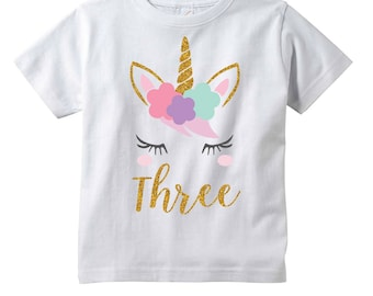 Girls Unicorn 3rd Birthday Shirt Three Year Old Gift Third Outfit