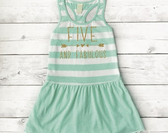 5th Birthday Dress Five And Fabulous Girl Summer Fifth 5 Year Old 193