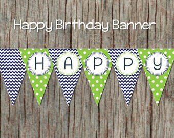 Navy Blue Lime Green Printable Happy Birthday Banner diy Digital Party Decorations Pennant Banner INSTANT DOWNLOAD 039