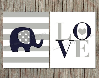 Boy Nursery Wall Art Printable Elephant Decor Nursery Kids Bedroom Wall Art Navy Blue Grey Digital Printable PDF Love Instant Download 009